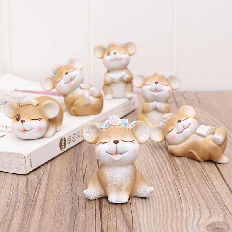 Cartoon Mouse Ornaments flower Mice Small Statue gifts Little Figurine Crafts Cute Animal Home Micro Landscape Decoration