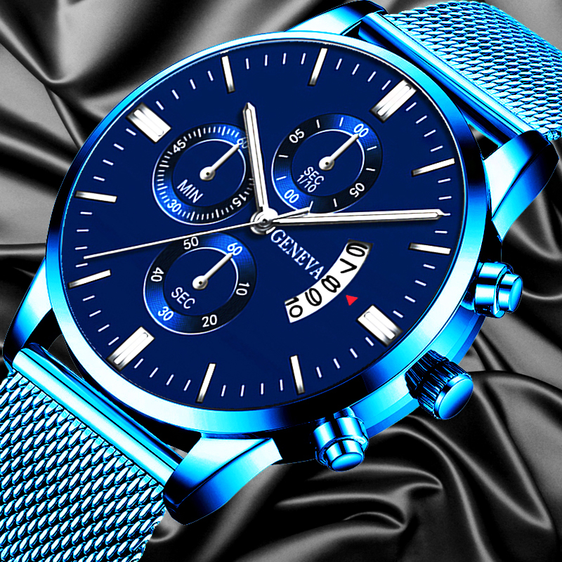 2020 Men's Luxury Blue Stainless Steel Watch Fashion Business Calendar Watches Mesh Belt Analog Quartz Watch Relogio Masculino