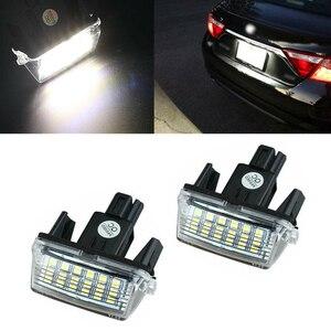 2 pçs 18 led carro número da placa de licença lâmpada luz branca para toyota yaris vitz camry híbrido corolla avensis sai noah prius c verso