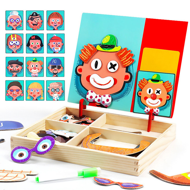 New Animals/ Vehicle Wooden Magnetic Puzzle Toys for Children Drawing Board Jigsaw Kids Game Baby Educational Learning Toy Gift