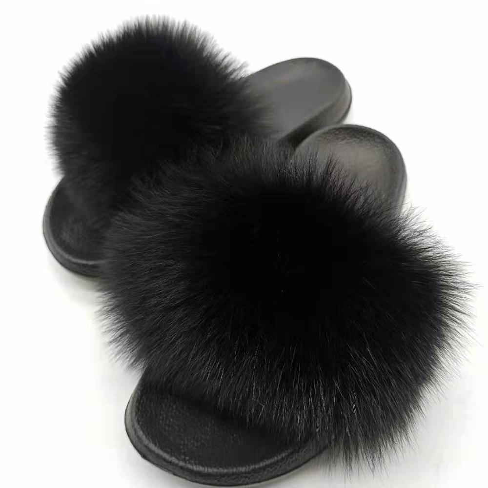 Women Fox Fur Slippers Real Slides Ladys Furry Indoor Flip Flops Plush Fluffy Drop Shipping