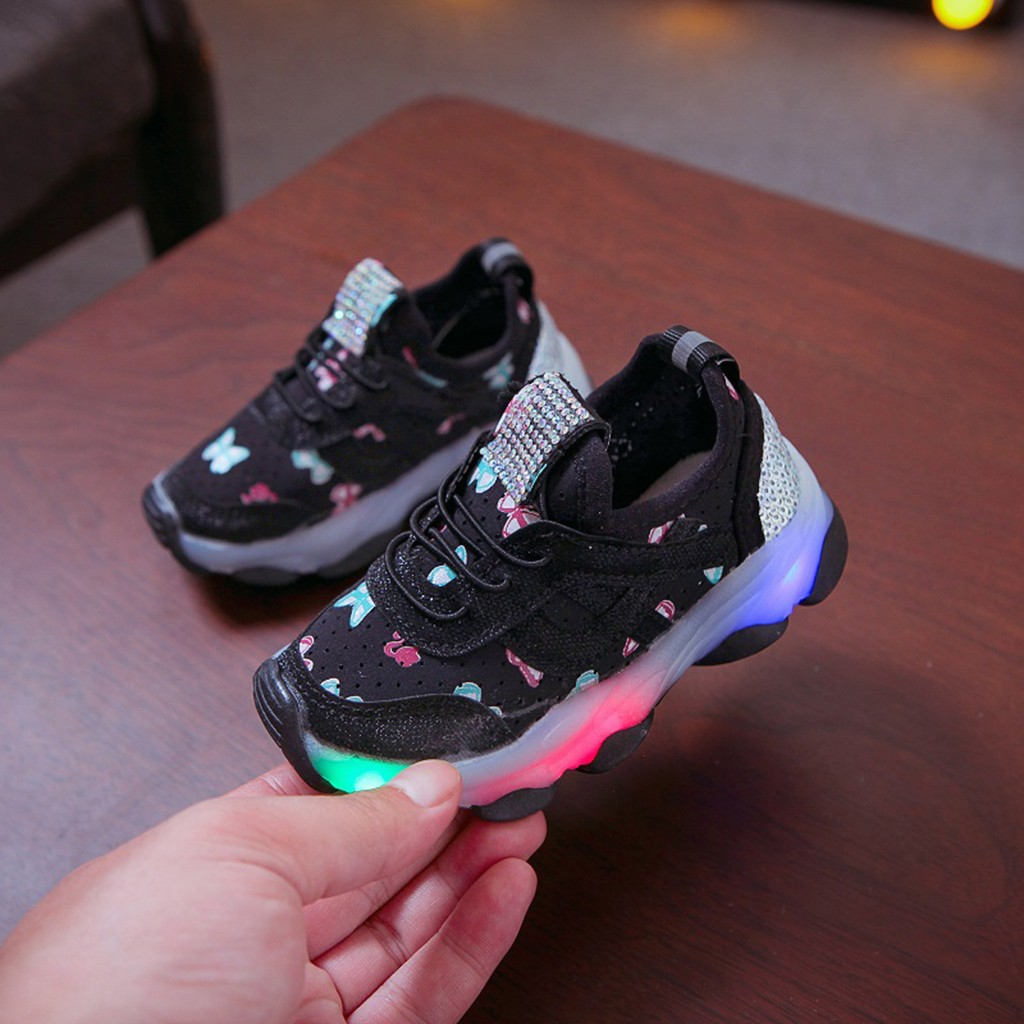 ULKNN Led Luminous Sport Run Senakers Shoes Kids Shoes Breathable Sport Fashionable Children Kid Baby Girls Butterfly