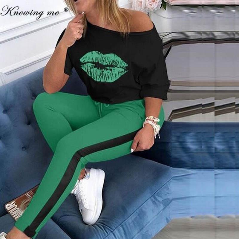 Barco com Âncora Elegante e Cintura Conjuntos de Calças Conjunto Abrigo Feminino Peças Blusa Elástica Verão 2020 Compridas 2