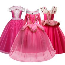 Śpiąca królewna Bella fantazyjne dzieci księżniczka sukienka na kostium Cosplay na Halloween sukienka na ramię do kostek dziewczyny ubrania tanie tanio SHOU ZHEN XIAN COTTON Poliester Koronki O-neck REGULAR Pełna Śliczne Pasuje prawda na wymiar weź swój normalny rozmiar