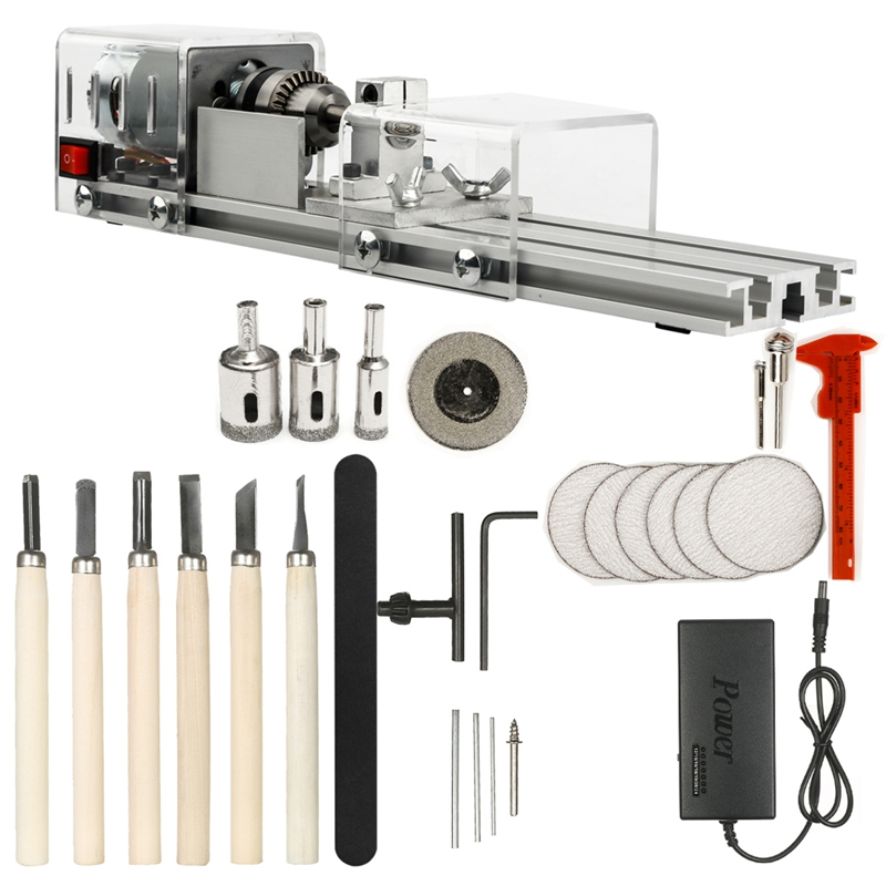 Us Plug,Mini Lathe Machine Tool Diy Woodworking Wood Lathe Milling Machine Grinding Polishing Beads Drill Rotary Tool Set