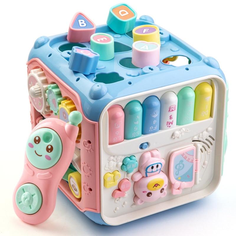 Bébé Hexahedral Cube jouet main tambour musique téléphone appariement perles équipement jouer jouets activité début apprentissage jouets pour enfants cadeau
