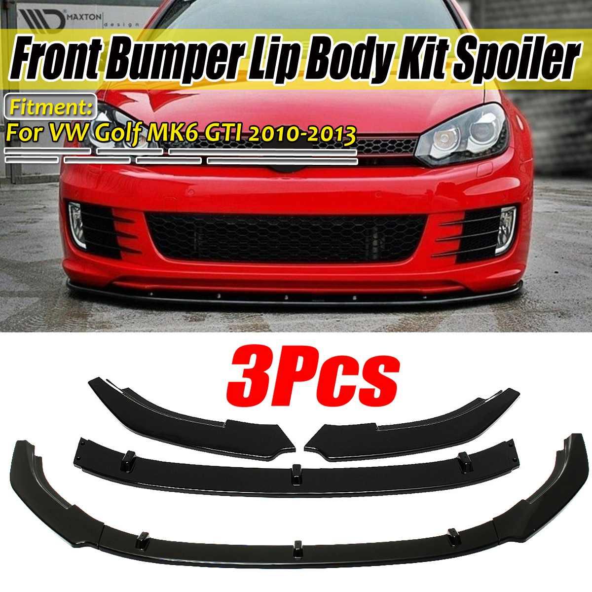Olhar de fibra carbono/preto amortecedor dianteiro do carro splitter lábio difusor corpo kit spoiler guarda para vw para golf mk6 gti 2010 2012 2013