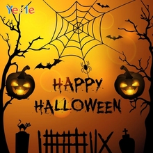 Yeele Happy Halloween Backdrop Bat Pumpkin Lantern Spider Web Branch Customized Vinyl Photography Background For Photo Studio цена