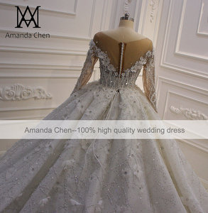 Image 4 - חלוק דה marier תחרה Applique פלאפי כדור שמלת סטרפלס חתונת שמלה