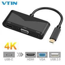 цена на 4 in 1 USB Type-C to HDMI VGA 3.5mm Audio Adapter USB-C 3.1 Converter Cable for Laptop Macbook Google Accessories Drop Shipping