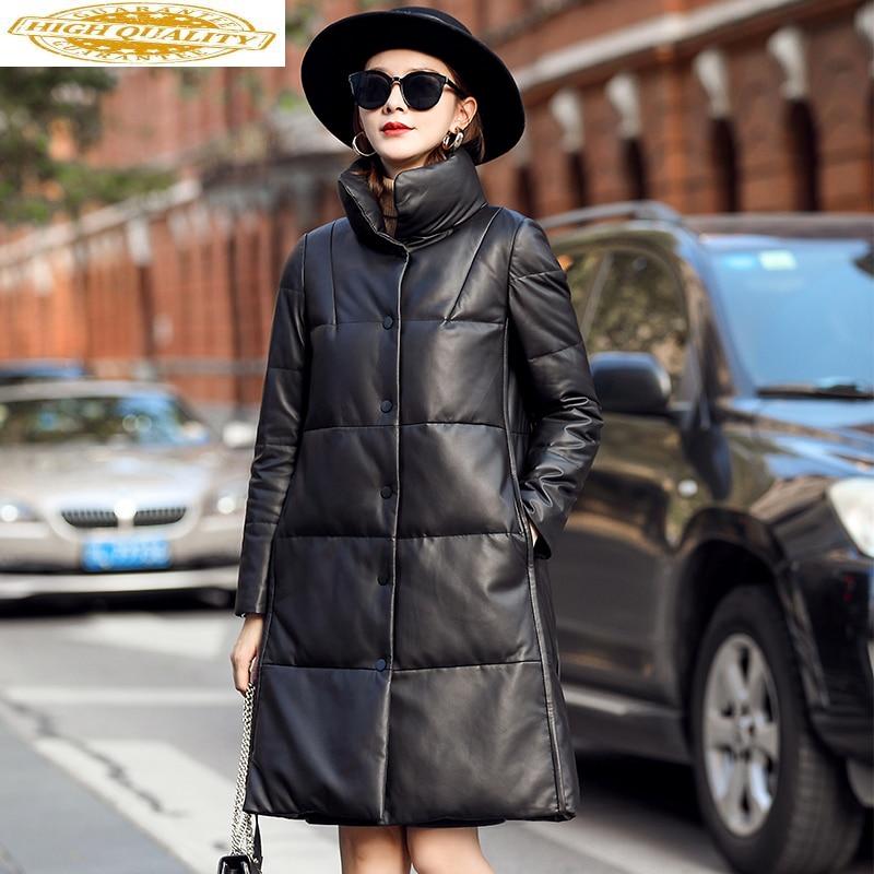 Winter Genuine Leather Down Jacket Women Real Sheepskin Coat White Duck Down Coat Long Leather Jackets 2020 MFQY9010