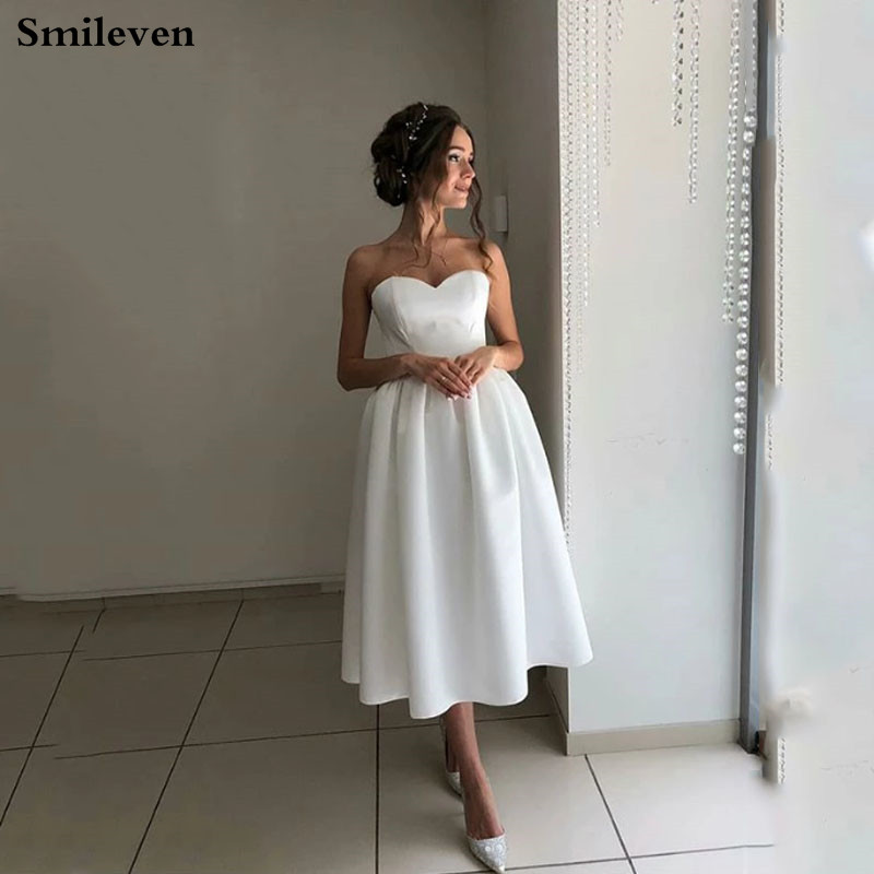 2019 Bohemian Short Wedding Dresses Satin Sweetheart Bridal Gowns  Ankle Length Vestido De Noiva Princess Wedding Gowns