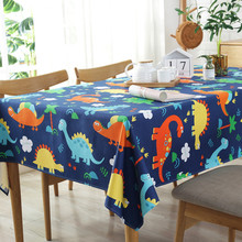 Dinasour Cartoon Tablecloth Cute Dark Blue Home Decoration Table Cover For Kids High Quality Dustproof Coffee Dining Cloth