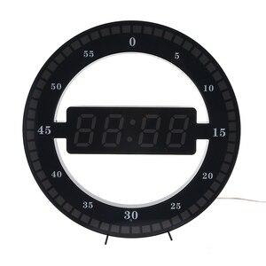 Image 2 - Horloge murale numérique, style moderne, double usage, gradation circulaire photoréceptive, pour la décoration de la maison, prise US et ue, LED