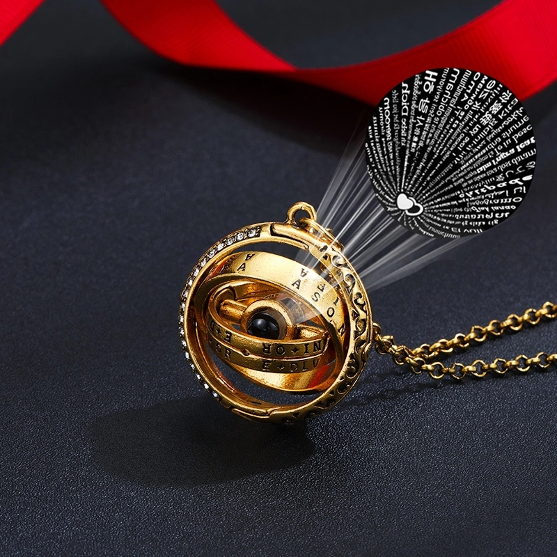 Openable Astronomical Ball Projection Necklace 100 Language I Love You Pendant Necklace for Women Men Choker Jewelry Gift|Pendant Necklaces|   - AliExpress