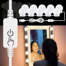 EU Plug Vanity Makeup Mirror Light 5V USB LED Dimmable Bulbs Kit Powered Dressing Table mirror Lamp Decor Bathroom