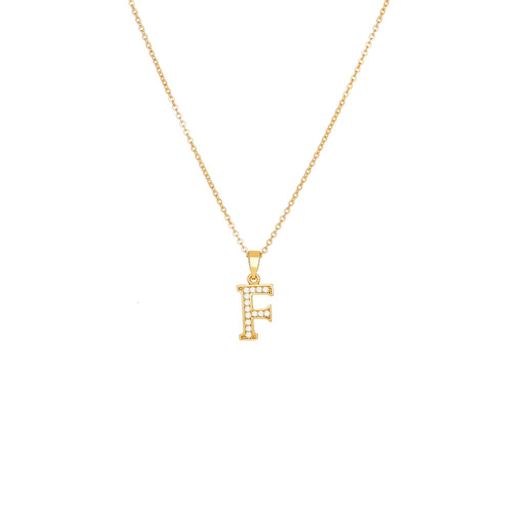 2020 New F Letter Suspension Pendant Necklace Beautiful Gold Color Chain Choker Necklace for Women Child Birthday Gift Jewellery