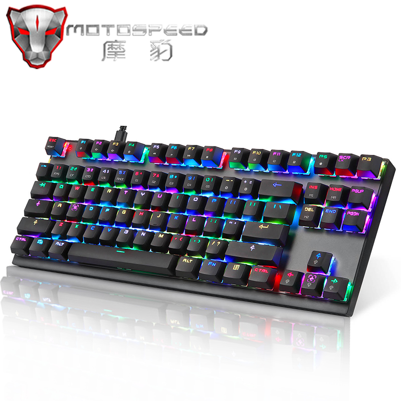 Axis Body : Red Switch, Color : Orange Gaming Keyboard Mechanical Gaming Keyboard LED Backlight USB Wired 87 Key English//Russian Keyboard for Computer Gamer Keyboard