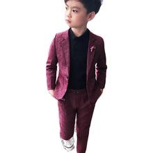 Suits Blazers Wedding-Wear Performance Baby Children Clothing Red-Costume School Boy