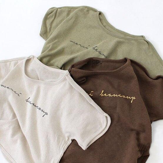 3279 2020 Summer Korean Children's Wear Cotton Style Fashion Accent Body Letter Short Sleeve T-shirt For Kid Boys Girls
