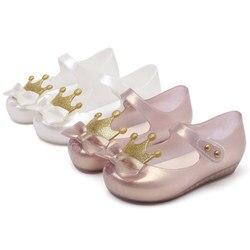 Mini Melissa 2019 nowa dziewczyna żelowe sandały korona letnie klapki Melissa dzieci śliczne sandały buty na plażę buty dla małego dziecka 13-18CM