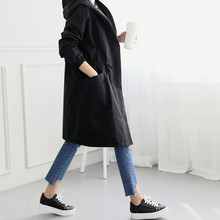 2019 New Autumn Winter Fleece Long Trench Coat Womens Long Sleeve Hooded Outerwear Coats Female Casual Streetwear Jacket