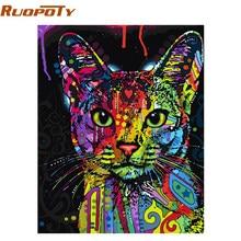 RUOPOTY-Kits d'art mural moderne abstrait avec peinture à la main numéros de chat coloré pour décoration de maison