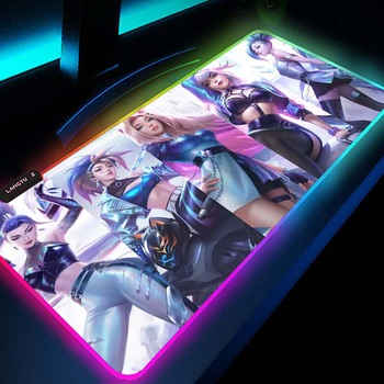 Pc Kawaii Girl Gamer Gaming Decoration KDA League of Legends Seraphine Akali Kayn Lol Ashe Rgb Mouse Pad Led Gamers Accessories 1