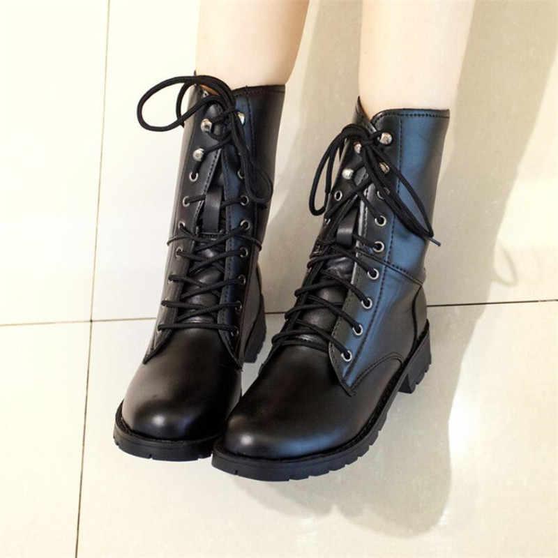 Giày Bốt Nữ Cho Tất Cả Các Dịp Xu Hướng Thời Trang Người Anh Gió Giày Bốt Martin Đơn Giày Hoang Dã Chống Trơn Trượt Retro Ấm Áp giày Bốt Nữ 42