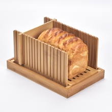 Bamboo Bread Slicer for Homemade Bread Cutting Board with Crumble Holder Tray Adjustable Compact Foldable Loaf Slicer