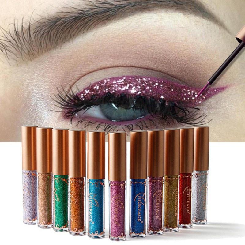 12 Colors Liquid Glitter Eyeliner Beauty Comestics Long Lasting Waterproof Eye Liner Shimmer Metallic Eye Liner Makeup Pen