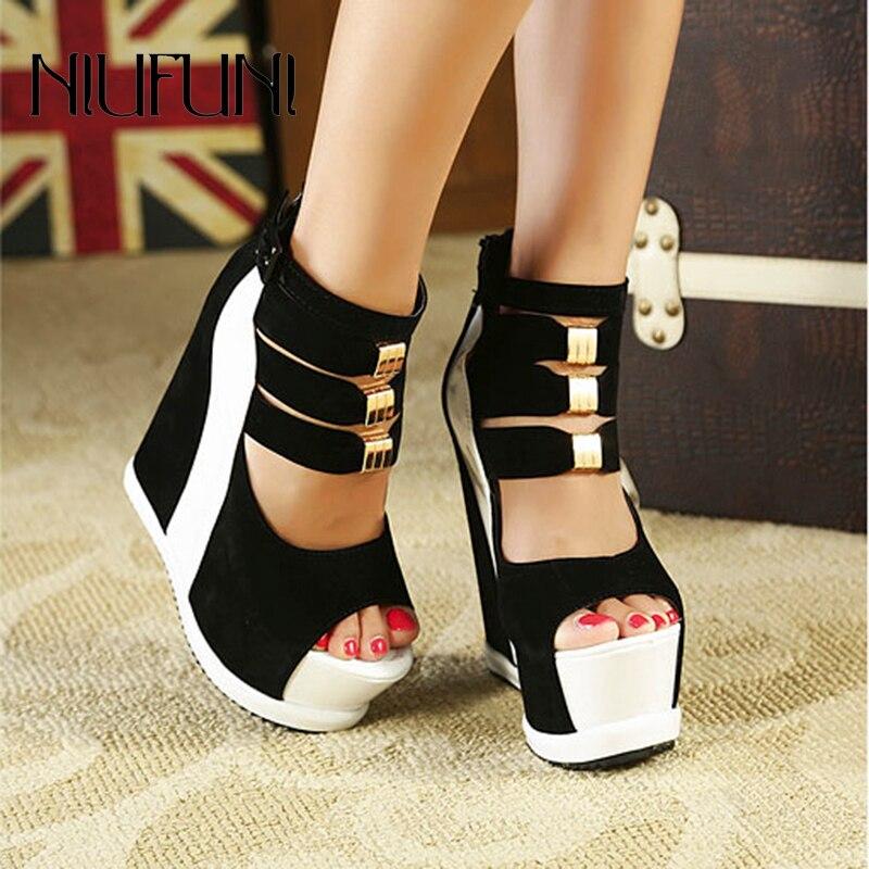 Sexy Wedge Waterproof Platform Women's Sandals Buckle High Heels Peep Toe Metal Decoration Zipper Roman Slip On Shoes Gladiator
