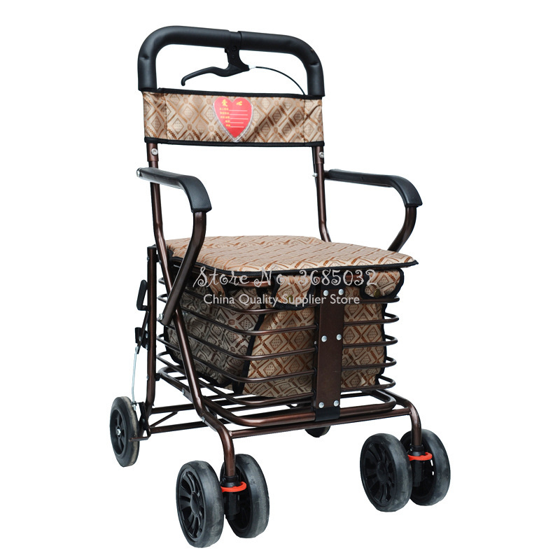 Last One Cheap Elderly Scooter Folding Shopping Cart With Seat Four-wheeled Grocery Shopping Cart Push Trolley Storage Bags