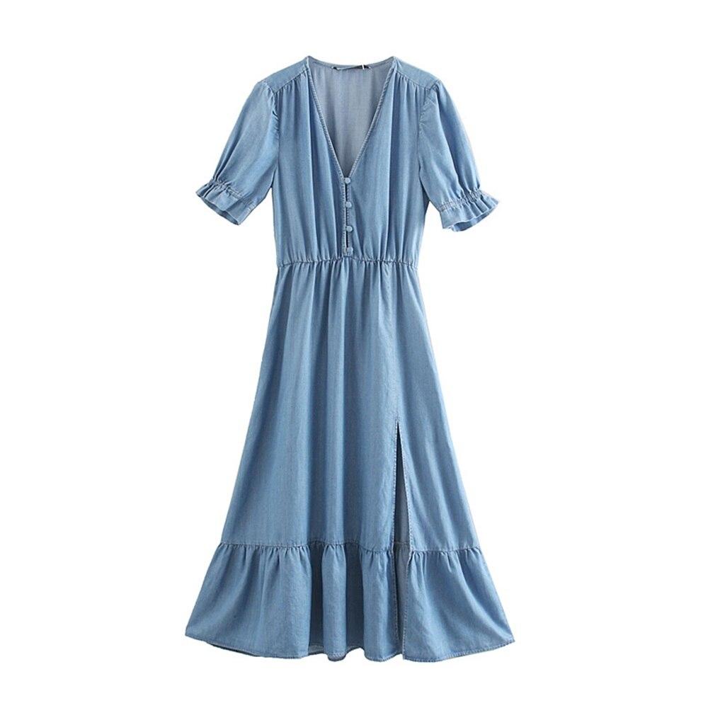 Короткое облегающее платье с v-образным вырезом и коротким рукавом, синее платье из небесно-голубого шелка в стиле ретро, осень 2019