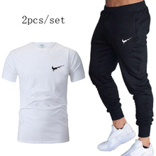 2019New Mens Sports Suits Gym sportswear  Brand T-shirt+pants Autumn Fitness Tracksuits Running Set Jogging Tracksuit