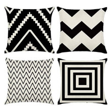 New simple pillowcase by black and white geometric wave linen cushion cover pillowcase