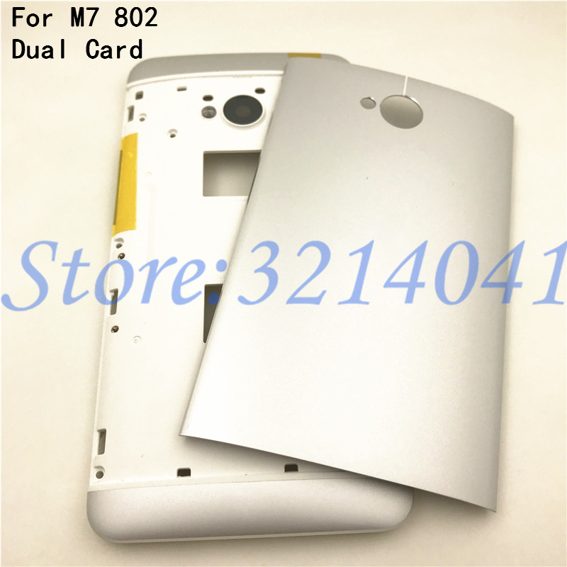 For HTC M7 802 New Dual Card Middle Frame Battery Door Back Cover Housing Case With Camera Lens+Power Volume Buttons