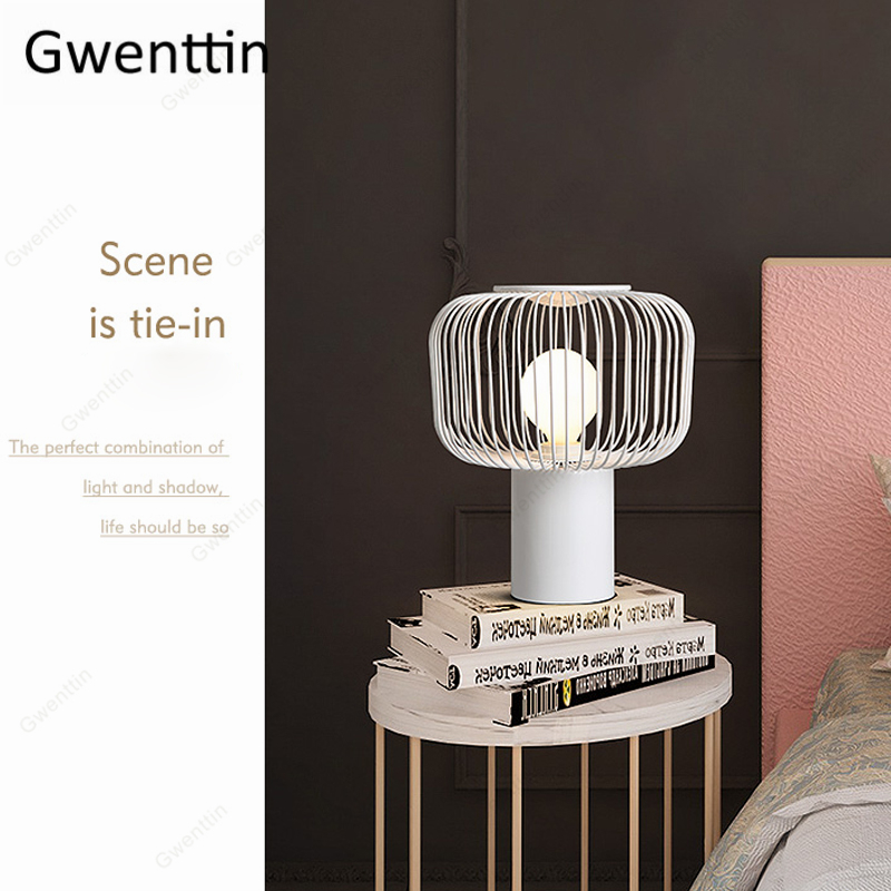 Nordic Iron Cage Table Lamp Loft Industrial Standing Desk Lights Bedroom Bedside Modern Led Light Fixtures Luminarias Home Decor