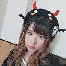 Boina de chifre com asas de devil, chapéu quente de lã para cosplay, para meninas kawaii, outono e inverno