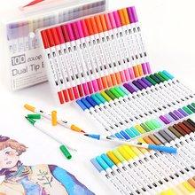 Stylos de couleur aquarelle pointe de brosse Fine marqueurs de couleur, stylo Fineliner pour lettrage feutre fournitures d'art dessin écriture Manga