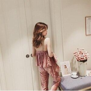Image 3 - JULYS SONG Velvet Pajamas Set Autumn Winter Warm Women Sexy Pajamas Sleepwear Sleeveless Strap Nightwear Long Pants Homewear