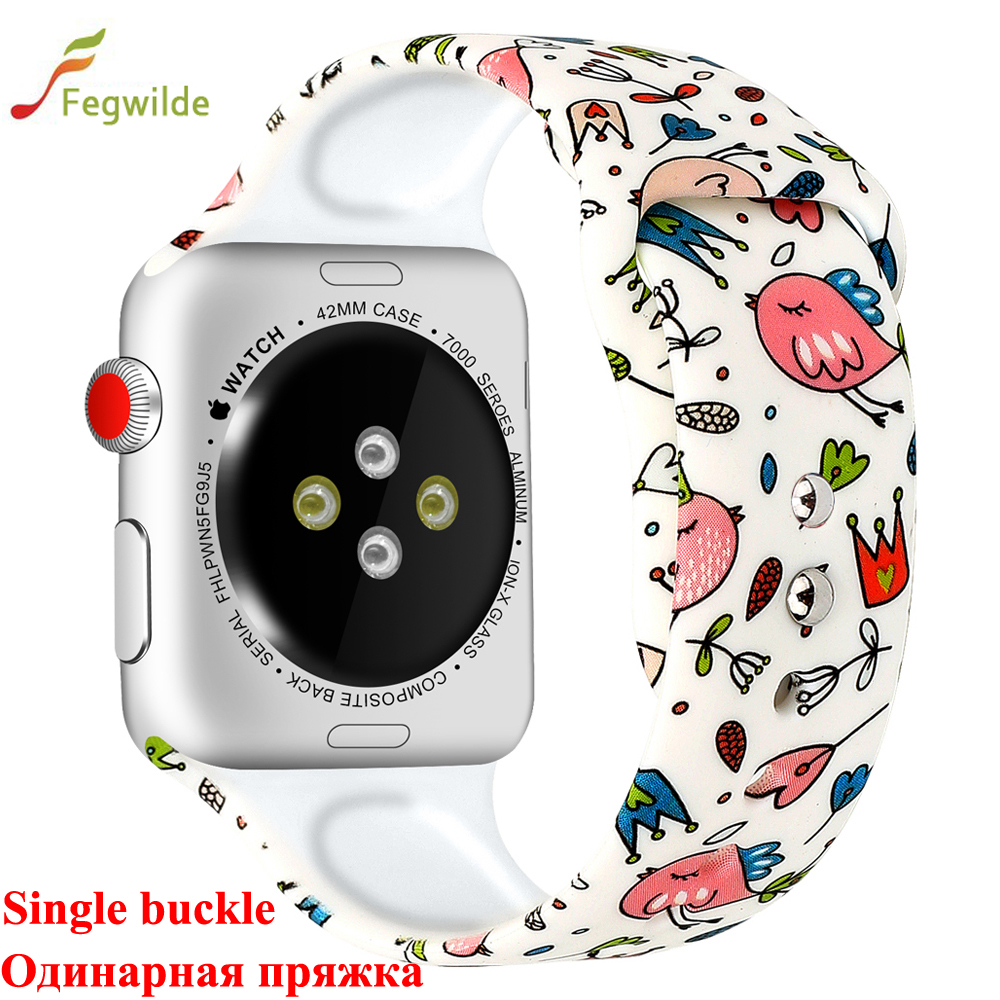 Strap For Apple Watch Band 44mm 40mm Iwatch 4 3 Band 42mm 38mm Bracelet Correa Sport Popular Silicone Printing Watch Accessories