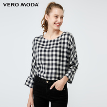 Vero Moda Women's Plaid Drop Shoulder 3/4 Sleeves Top   319458503