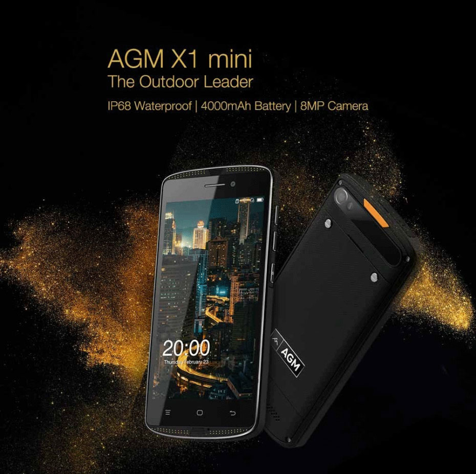 "AGM X1 Mini 4G LTE Smartphone Android 6.0 5.0"" Quad Core 2GB RAM 16GB ROM 8.0MP 4000mAh IP68 Waterproof Shockproof Mobile Phone"