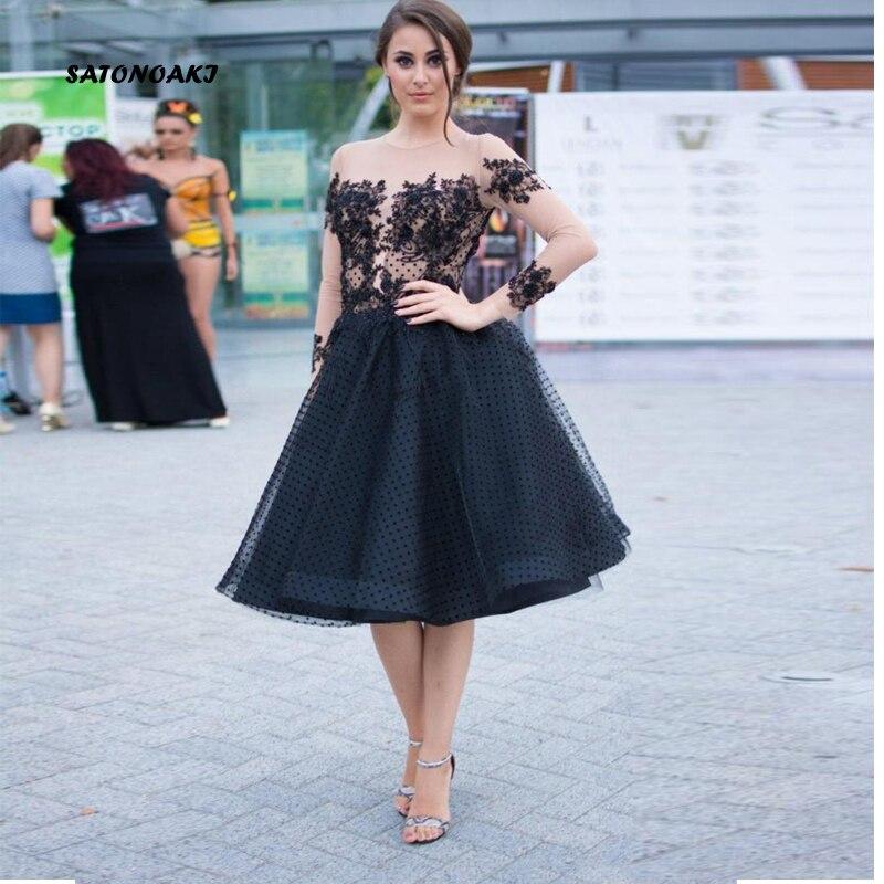 SATONOAKI 2019 manches longues courte robe de bal Illusion corsage dentelle appliques perles conception genou longueur petites robes de soirée noires