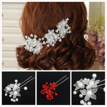 Pearl Hairpin Bridal Clip Luxury Wedding Hairpin Sticks White Prom Bride Bridesmaid Hair Accessories for Women In Stock cheap Century socialite Flowers Metal Adult Pearls Bridal Wedding Hair Pin Bridesmaid Hairpin Pearl Hair Pin
