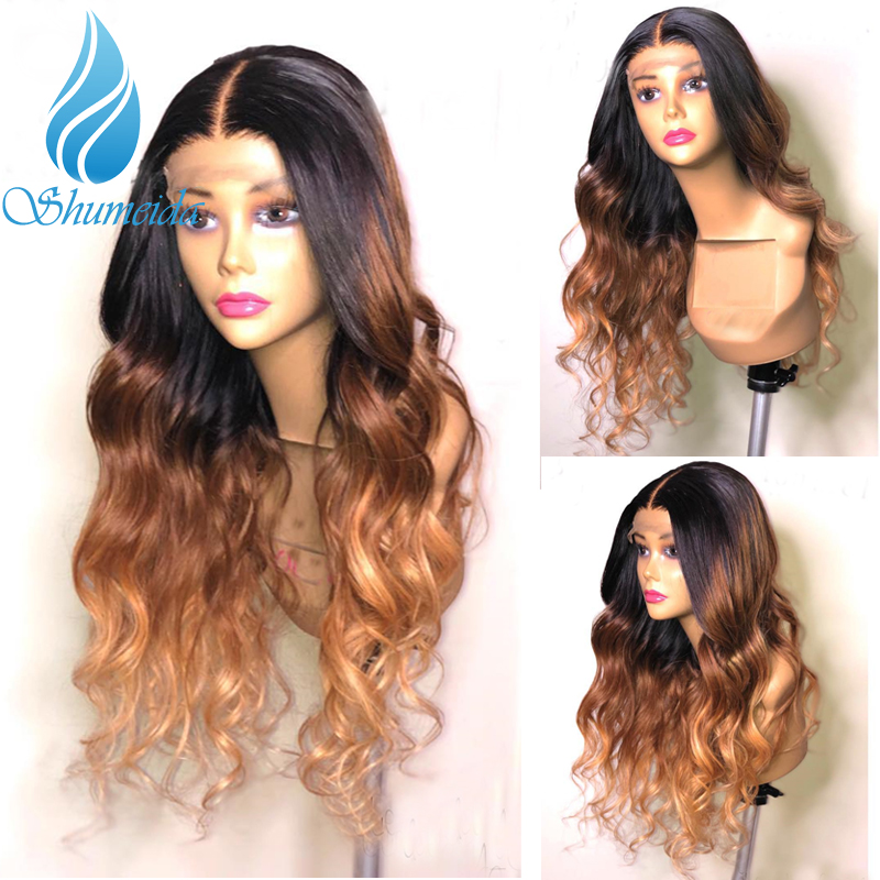 13*6 Ombre Brown Color Lace Front Wig For Black Women Brazilian Remy Hair Body Wave Wig Glueless Human Hair Wigs With Baby Hair