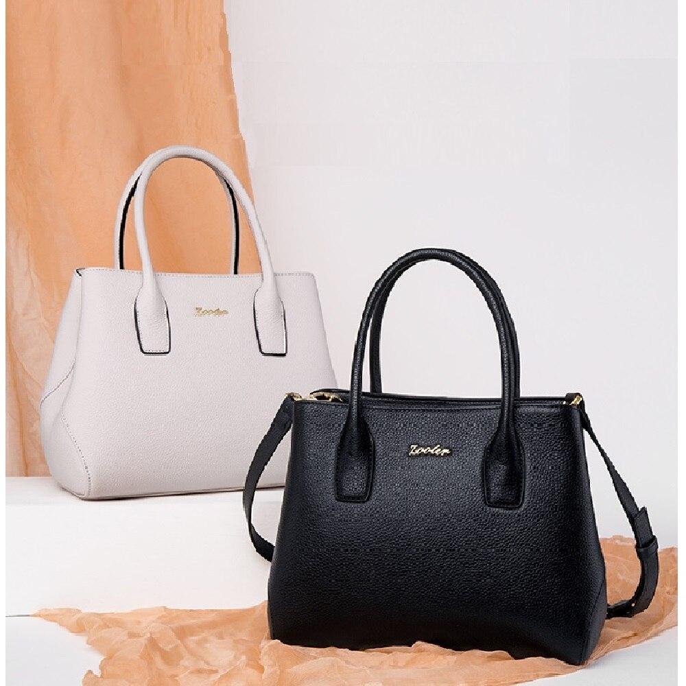 HOT Luxury bag!2019 new ZOOLER genuine leather bag woman large capacity elegant solid handbag high quality tote-T502