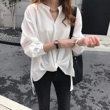 SexeMara 2019 Autumn New Three Quarter Batwing Sleeve V-neck Irregular Hem Solid Color Ladies Fashion Chifforn Shirt CST082
