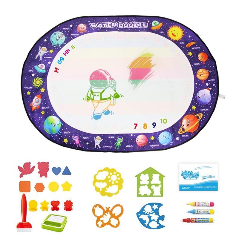 Tablero de dibujo mágico de 100x70cm y 3 bolígrafos para hacer garabatos con agua y 1 Juego de sellos, pintura para colorear, juguetes educativos para niños, tapete de dibujo